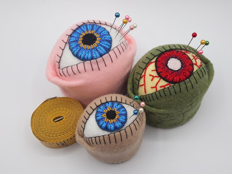 Made to order  The Original Eyeball Bottlecap Pincushion Pin image 1