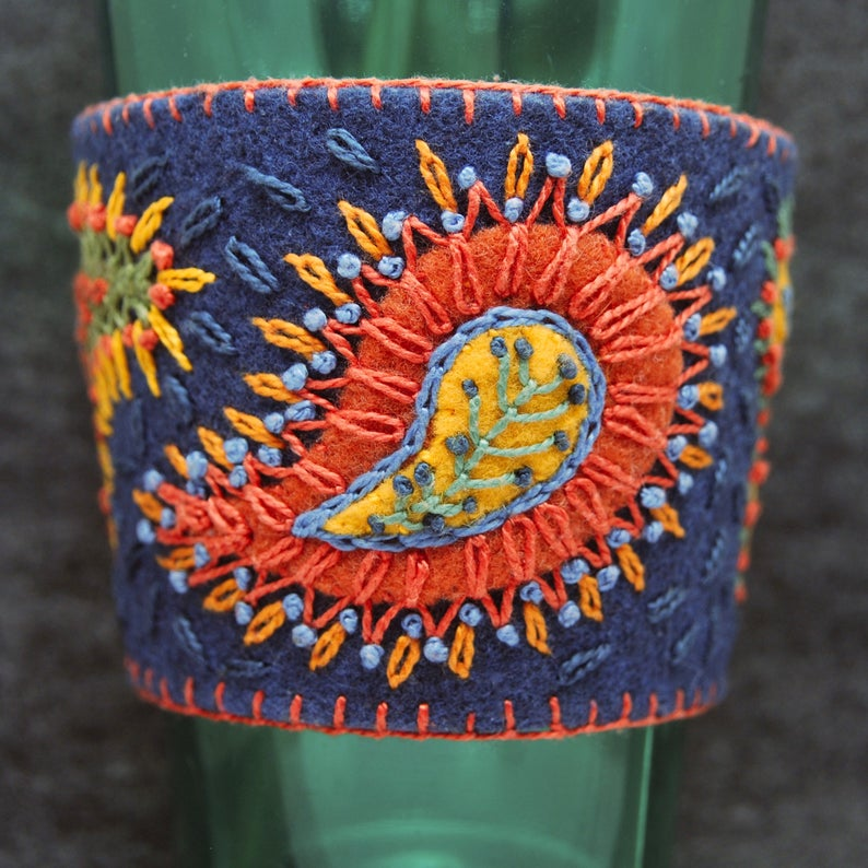 Made to order  Hand Embroidered Ethnic Paisley Coffee Cup image 0