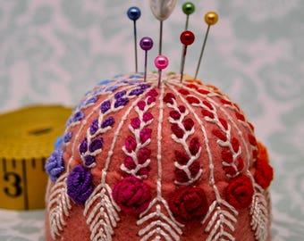 MADE TO ORDER - Spectrum Blooms Large Bottlecap Pincushion free us ship