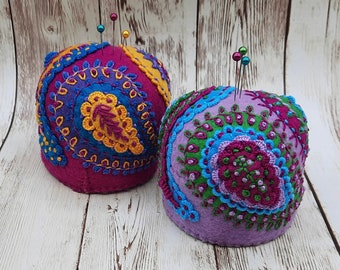 Made to order - Four color only Paisley Large Bottlecap Pincushion  free usa ship