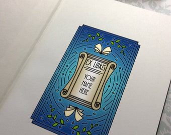 Made to order - 30 Personalized - Custom Midnight Reader Library bookplate Ex Libris Sticker Adhesive