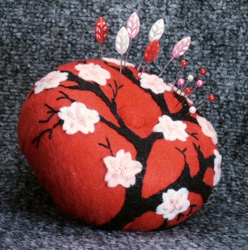Made to order  Large Japanese cherry blossoms pincushion image 0