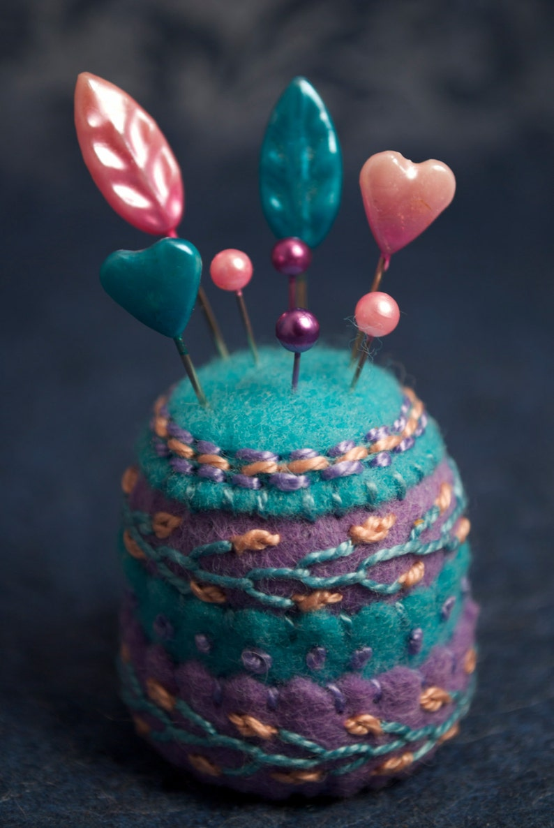 Made to order  Spring flowers small bottlecap pincushion image 0