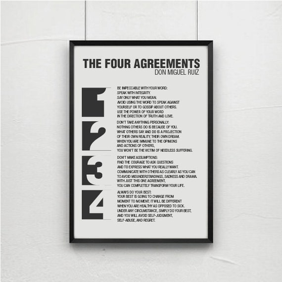 Inspirational Quotes Quote Prints Quote Posters Typography Poster Positive Quotesthe Four Agreements Don Miguel Ruiz Toltec Wisdom