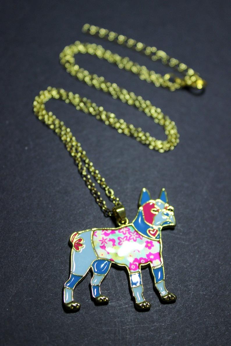 Cute Dog Boston Terrier Blue Pink Flowers Enamel Pendant Necklace Jewellery Gold Tone Chain Womens  Girls Pretty Animal Charm New