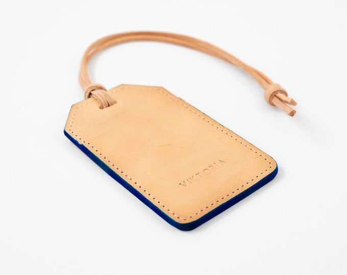 Engraved personalised monogram  travel luggage tag, leather luggage  with customised name in natural leather and coloured edge