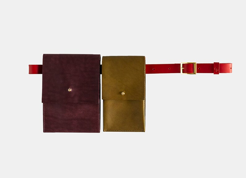 Olive green-Bordeaux with Red belt Leather Waist Bag 3 In 1