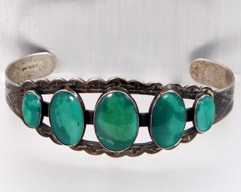 Vintage Solid Sterling Silver & Turquoise Native American Cuff Bracelet