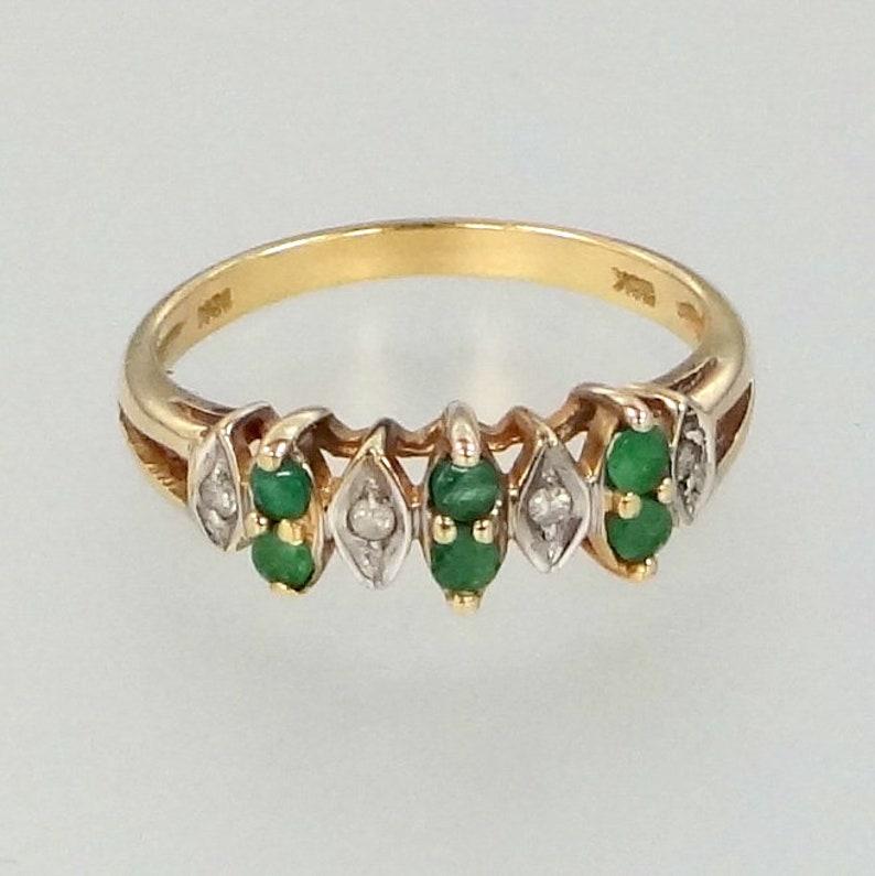 10k Gold Genuine Diamonds /& Emeralds Size 6 Ring
