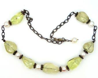 Sterling Silver Lemon Quartz & Large Freshwater Pearls Necklace