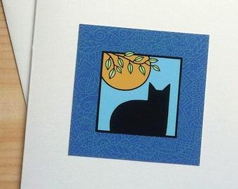 Cat in Window - Handmade Note Card