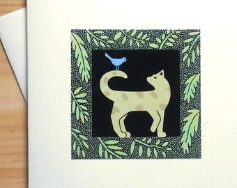 Cat and Bird - Handmade Note Card