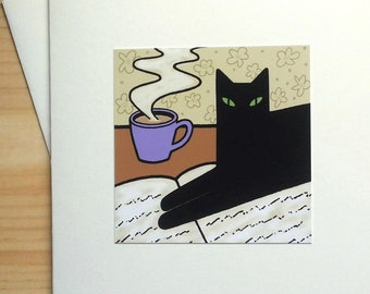 Cat Sitting on Newspaper - Handmade Note Card