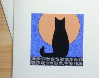 Cat Sitting on Wall with Full Moon - Handmade Note Card
