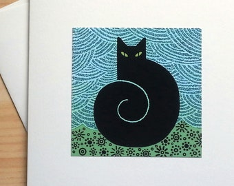 Black Cat with Swirly Tail - Handmade Note Card