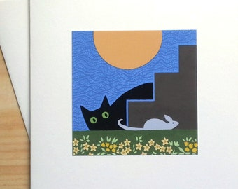 Cat and Mouse - Handmade Note Card