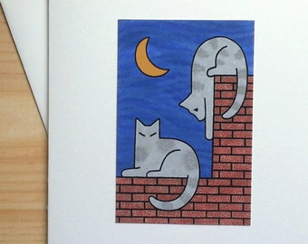 Two Cats on a Rooftop - Handmade Note Card
