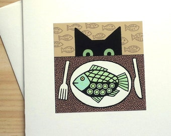 Cat and Fish Dinner - Handmade Note Card