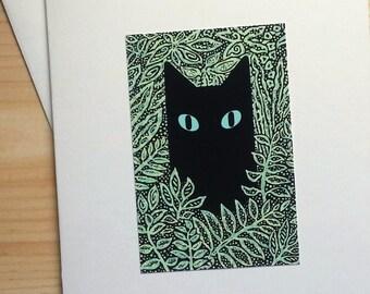 Black Cat in Leaves - Handmade Note Card