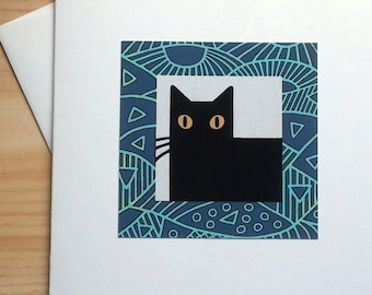 Black Cat with Linear Border - Handmade Note Card