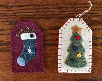 kit; pair of wool Christmas ornaments/gift tags