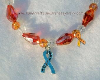 Awareness Bracelet, Survivor Charm, Ribbon Awareness, Crystal Bracelet, Beaded Bracelet, Orange Awareness, Red Awareness
