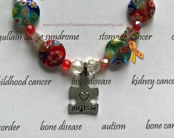 Autism Awareness Bracelet, Puzzle Piece Charm