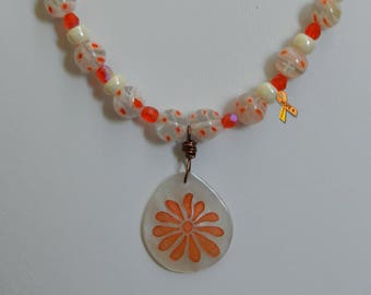 "Hammershell Starburst Pendant Necklace, Hammershell Starburst with Millefiori Necklace, Women's 25"" Necklace, Shell Necklace"