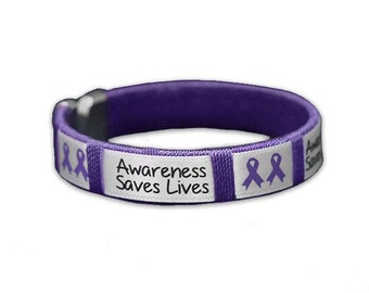 Purple Ribbon Awareness, Awareness Saves Lives, Fabric Bangle Bracelet