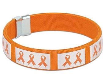 Orange Ribbon Fabric Bangle, Bracelet, Awareness, Flexible