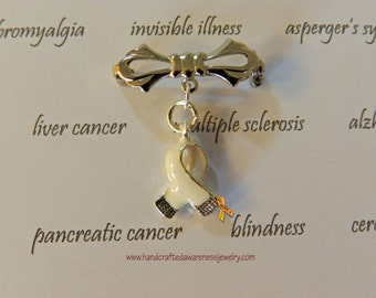 White Ribbon Awareness Brooch, Invisible Illness, Lung Cancer Awareness, Bone Cancer Awareness, Emphysema, Bone Disease, SS Plated Pin