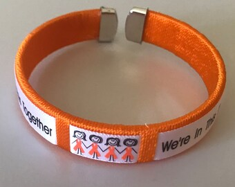 We're In This Together Orange Fabric Bangle, Bracelet, Awareness, Flexible