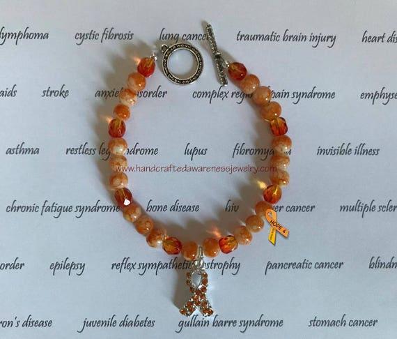 Orange Ribbon Awareness Bracelet Awareness Bracelet MS | Etsy