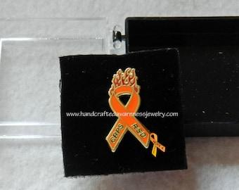 """CRPS Awareness, RSD Awareness, """"Fight the Fire"""", Orange Ribbon Awareness, Lapel Pin"""