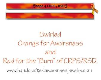 "8"", CRPS Awareness, RSD Awareness, Orange Ribbon Awareness, Adult Silicone Wristband, Debossed Wristband"