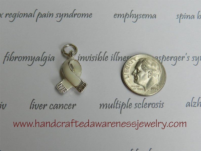 White Ribbon Charm Invisible Illness Awareness Bone Cancer image 0