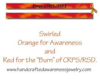 "7"", CRPS Awareness, RSD Awareness, Orange Ribbon Awareness, Petite/Youth Silicone Wristband, Debossed Wristband"