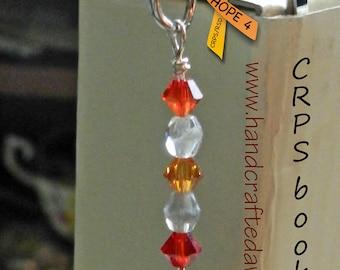 CRPS, RSD, Orange, Ribbon, HOPE 4 Charm, Awareness, Metal Bookmarks