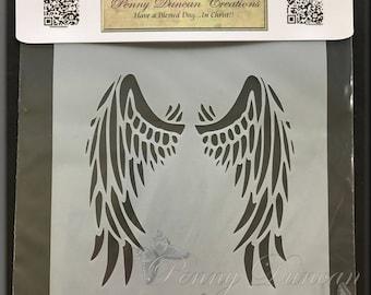 "Wings Stencil 5 3/4"" x 5 3/4"""