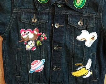 Girls 3T Denim Jean Jacket with Animals and Food