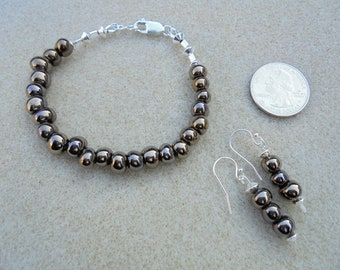 Bronze color Freshwater Pearls and Sterling Silver Earrings and Bracelet Set - Handmade