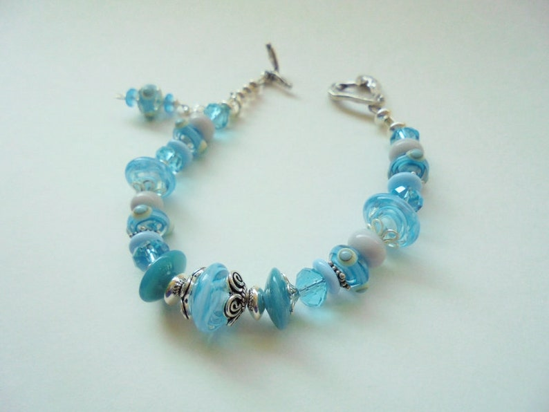 437c8dbe1e845 Light Blue Lampwork Glass Bracelet ~ Aqua and White Lampwork Glass, Czech  Glass and Sterling Silver Beaded Bracelet ~ 7 5/8