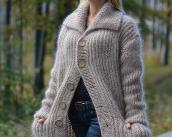 6ccba1ede77bb ORDER handmade mohair cardigan hand knitted fuzzy coat collared soft  cardigan Dukyana CAM37