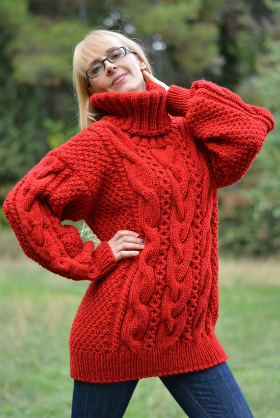 Hand Knit Thick Warm Pullover Sweater