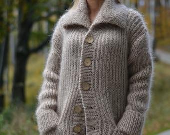 handknit cardigan mens sweater mohair cardigan knitted coat collared jumper soft cardigan handmade sweater handknit sweatercoat men knitwear