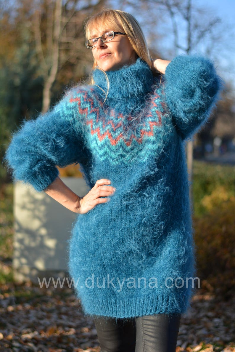 READY handmade Icelandic sweater Fuzzy mohair pullover Nordic  14bd295fc