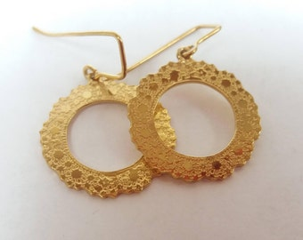 18ct Yellow Gold Plated Silver Etched Doily Earrings