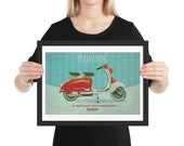 Clean Living in Optimum Circumstances: Lambretta Print. Framed matte paper poster
