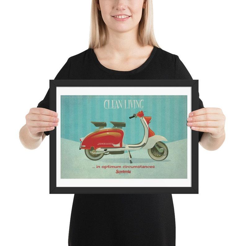 Clean Living in Optimum Circumstances: Lambretta Print. Framed image 0