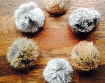 Rabbit Fur Cat Toy, Natural Color Fur, Fur, Fur Ball, Cat, 6 per pack, Cat Toy, Handmade, Max